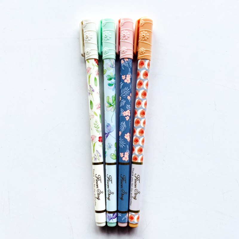 2X Cute Romantic Flower Story Gel Pen Writing Signing Pen Student Stationery School Office Supply Kids Gift 0.35mm Black Ink