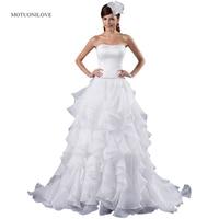Vestido de noiva princesa Strapless Ruffles Wedding Dresses Court Train Crystal Belt Elegant Wedding Gown Bridal Dress Free Ship