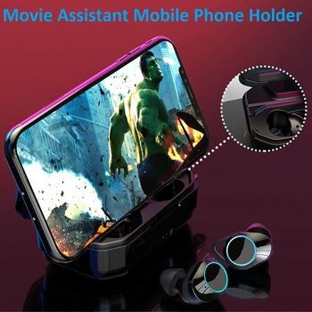 G02 TWS 5.0 Bluetooth 6D Stereo Earphone Wireless Earbud Stereo Headset 3300mAh LED Smart Power Bank Phone Holder elari nanopods 2