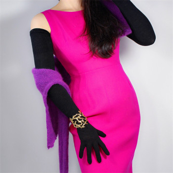 LONG KNIT GLOVES 70cm 28 Arm Warmer Opera Mittens Solid Black Schoolgirl Five Fingers Womens Knitted Long Gloves WMX01