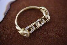 18K import Solide Gelb ReallyGold Schmuck (AU750) frauen Ins Einfache Kette Diamant Ring Persönlichkeit Aktivität Designer Mode Dame