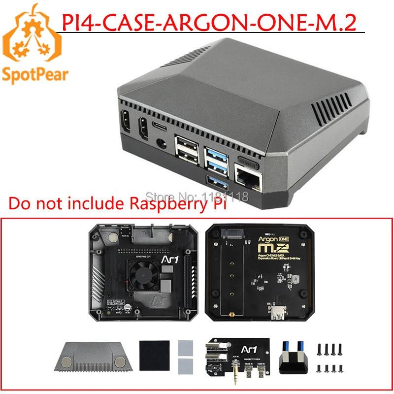 Raspberry pi 4b argônio um caso de alumínio m.2 ssd, com slot de expansão m.2 ssd