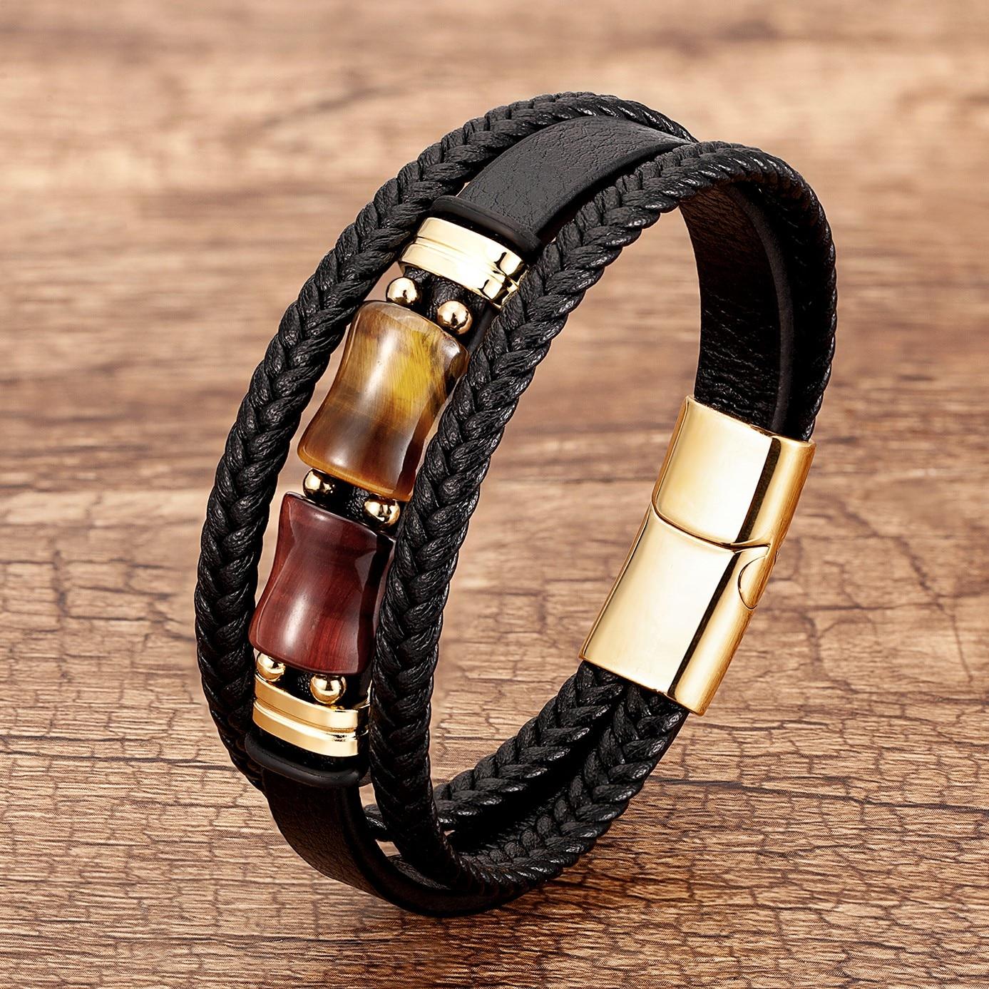 Natural Tiger Eye Stone Bracelet Multilayer Braided Genuine Leather