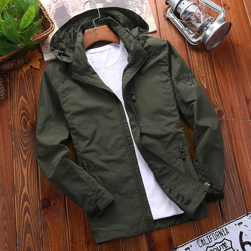 Waterproof Jacket Coat Outwear Hooded Spring Cargo Autumn Male Breathable Men's Casual