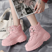 Купить с кэшбэком Women Sneakers 2019 Platform Pink Chunky Heel Wedges Dad Shoes White Height Increasing Women Shoes Sports Shoes Chaussure Femme