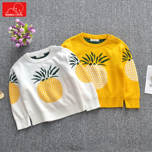 spring autumn children knitwear fashion baby boys girls pullover tops cute kids Sweater print o-neck knitwear clothing недорого