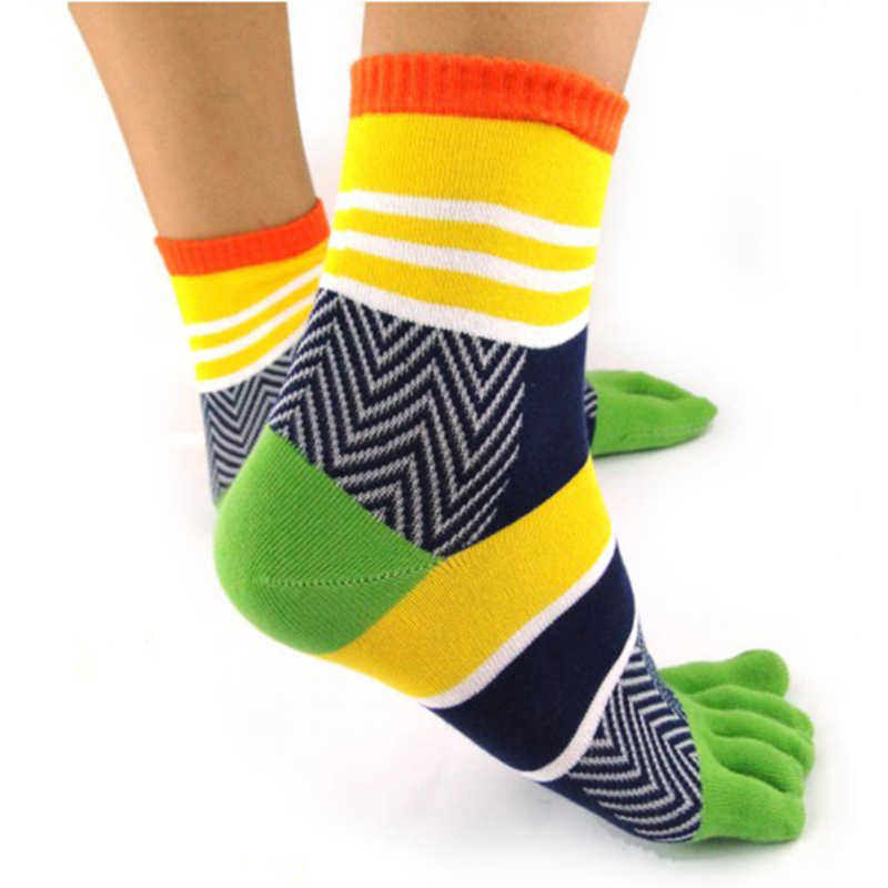 Mens Mosaic Striped 5 Five Finger Socks Cotton Casual Sports Toe Socks Colorful Comfortable Calf Socks Antibacterial 6 Colors
