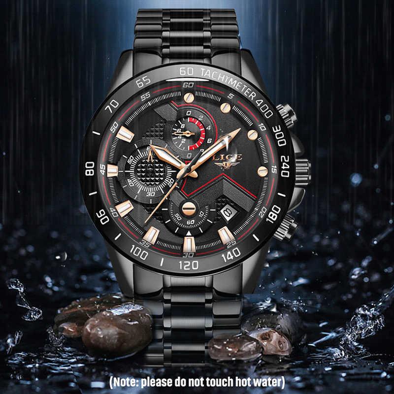 2020 LIGE moda erkek saatler paslanmaz çelik üst marka lüks spor kronometreli kuvars saat erkekler siyah saat Relogio Masculino