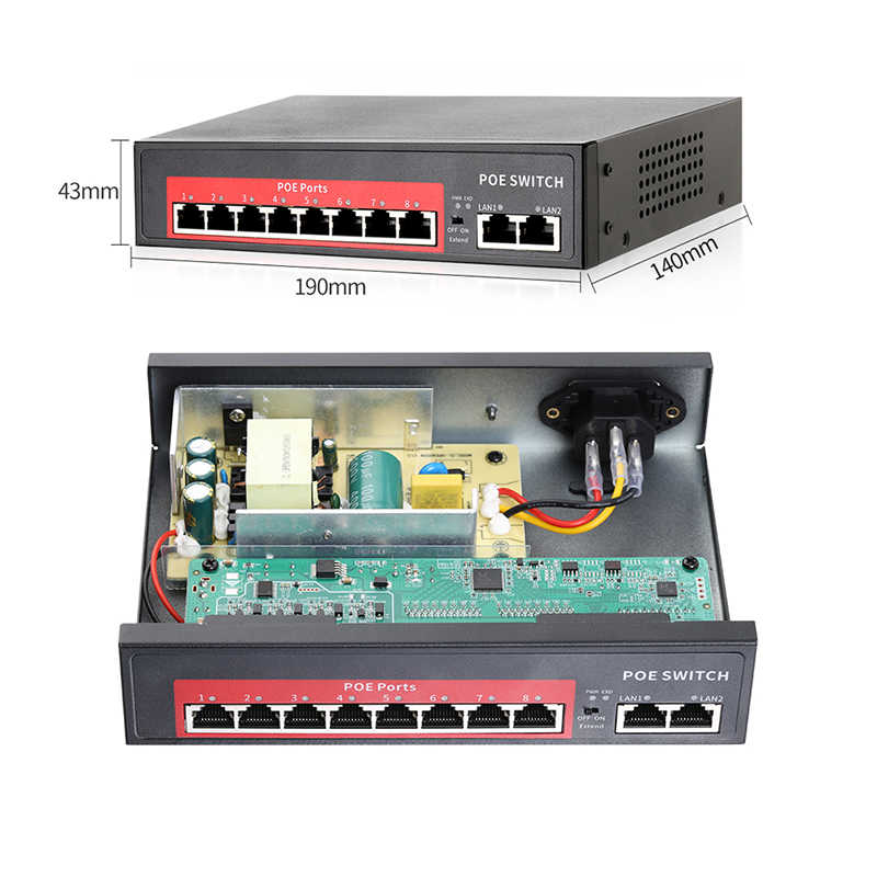 Techage 4CH 8CH 48V רשת POE מתג עם 10/100Mbps IEEE 802.3 af/באופן מעל Ethernet IP מצלמה/אלחוטי AP/טלוויזיה במעגל סגור מצלמה מערכת