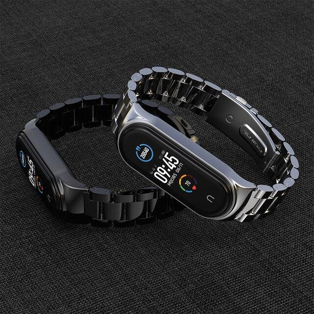 for Xiaomi Mi Band 6 Strap Compatible Mi Band 5 4 3 Strap NFC Miband 5 Bracelet Metal Steel Global Version Wristbands Correa 2