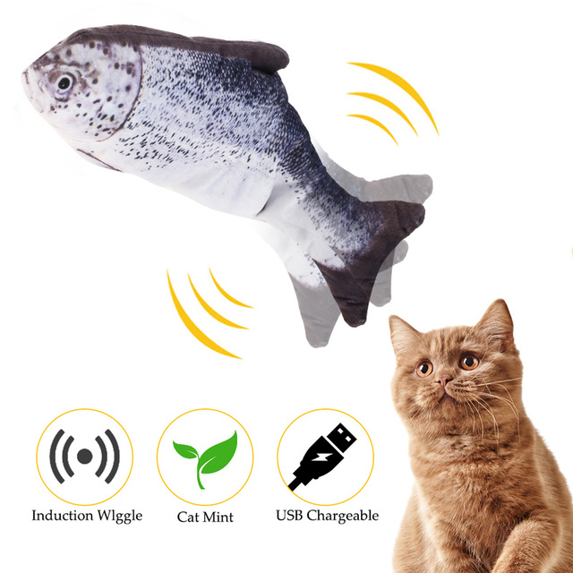 Funny Fish Shape Toy for Cat Electric Moving USB Charger Interactive Cats Chew Bite Supplies Kitten Fish Flop Pet Wagging Toy 1