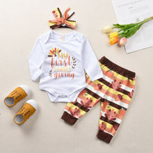 Infant Newborn Baby Girls Clothes Set Long Sleeve Cotton Romper Pants Hats Outfits Toddler Clothing 2019