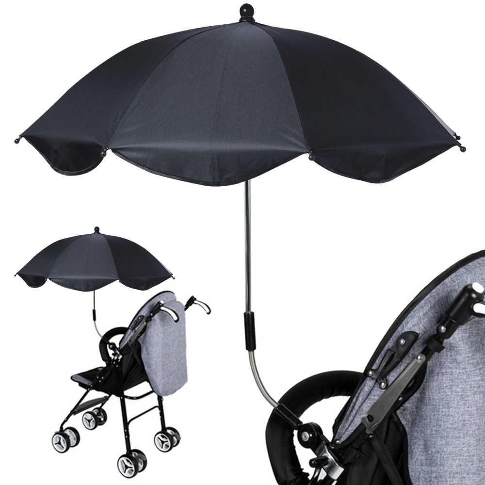 1PC Pram מטריית מתכוונן עגלת מטריית גשם & UV הגנת תינוק Pram Pushchair צל שמש שמשייה עם אוניברסלי מהדק