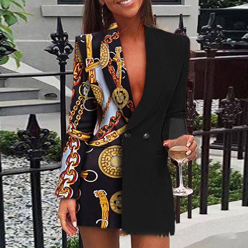 STYLISH LADY Patchwork Blazer 2020 Spring Women Long Sleeve Double Breasted Notched Printed Chic Elegant Office Lady Blazer