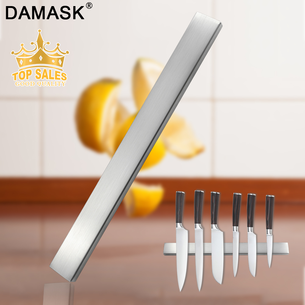 Damask Magnetic Self-adhesive 45CM Length Knifes Holder Stainless Steel Block Strong Magnet Knife Stand For Kitchen Knives Tools