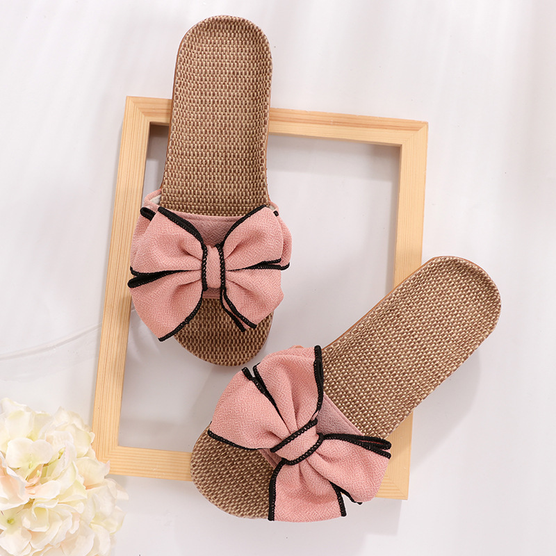 New  Butterfly-Knot Home Slippers Summer Cool Eva Slippers Women Linen Belt Slides Female Sandals Flip Flops