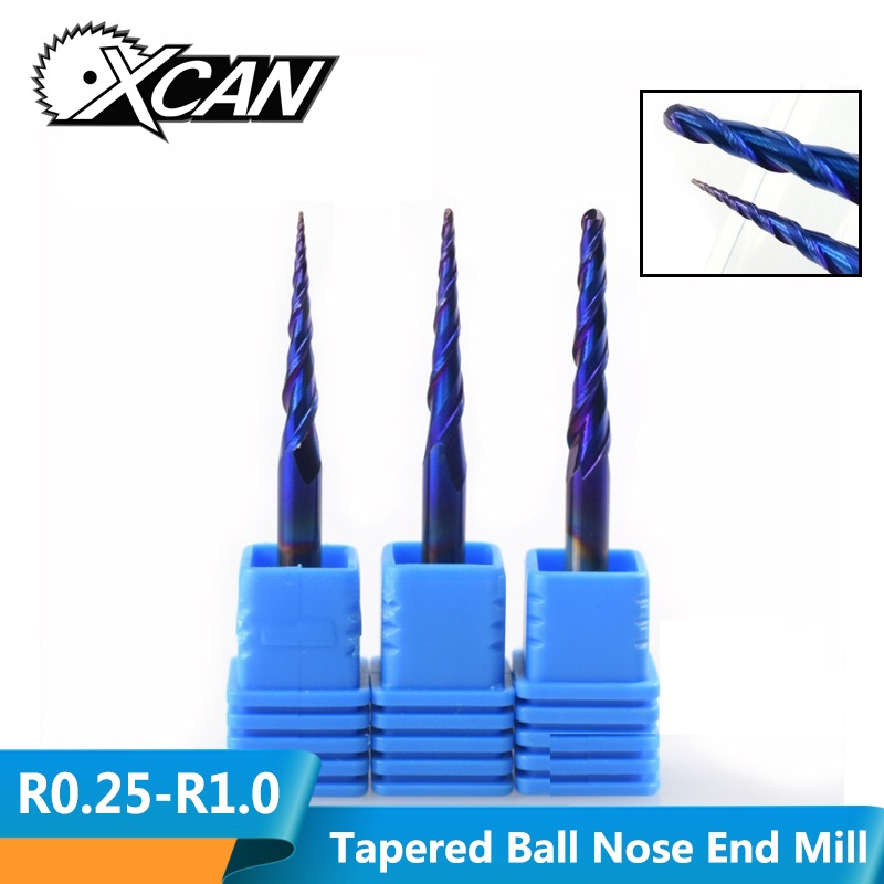 XCAN 1pc 4mm Shank Nano Blue Coated Carbide End Mill R0.25/R0.5/R1.0 Tapered Ball Nose Milling Cutter Woodworking Engraving Bit