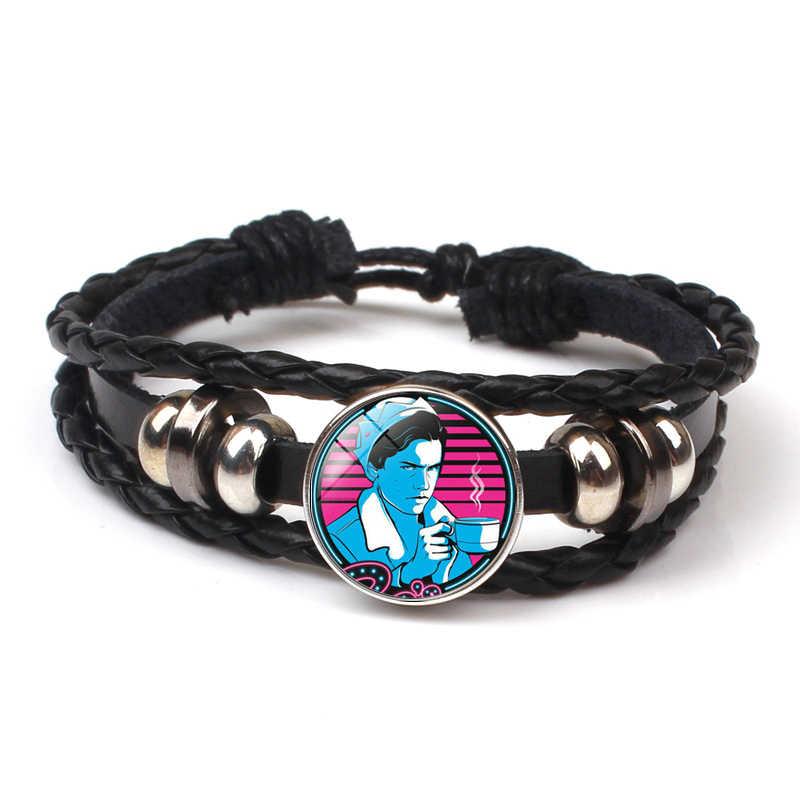 HOT! New Arrival Riverdale bransoletki ze skóry Riverdale biżuteria szkło Dome obracanie czarny męska bransoletka prezent fani pamiątka DIY
