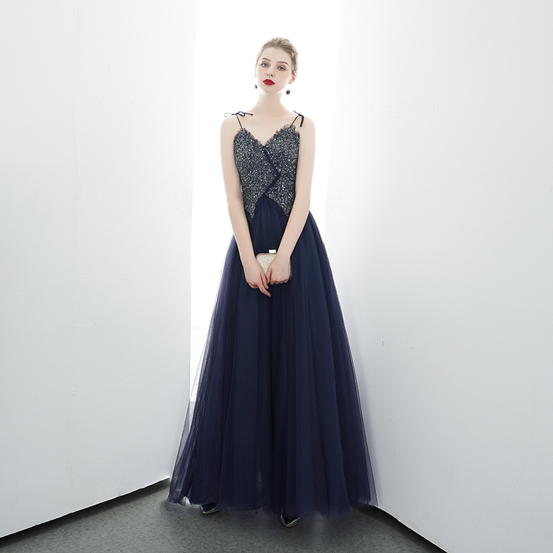 Sexy Navy Blue Beads Evening Dresses 2020 Long A Line Women Formal Party Prom Dresses Robe De Soiree Formal Occasion