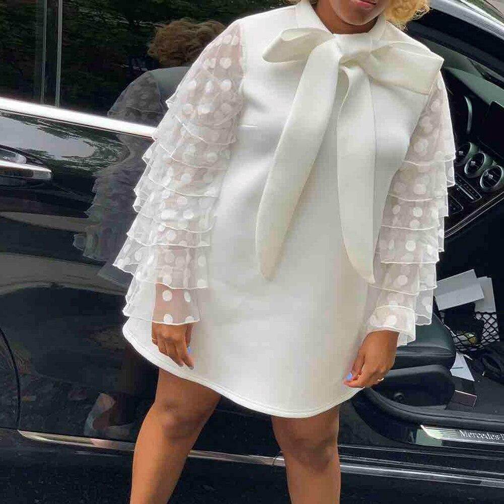 Plus grande taille élégante fête Orange blanc Mini robes Vintage femmes arc à pois maille à volants à manches longues robe courte dames - 4