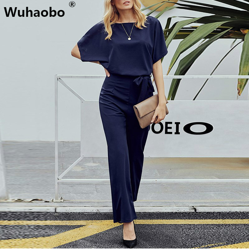 Wuhaobo Short Sleeve 2019 New Women Jumpsuit Solid Back Button Bodysuits Womens Casual Spring Summer Overalls Female Jumpsuits
