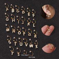 1 PC Steel CZ Hoop English alphabet zircon pendant ear bone nail Dangle Ear Tragus helix Daith Cartilage Rook Piercing Jewelry