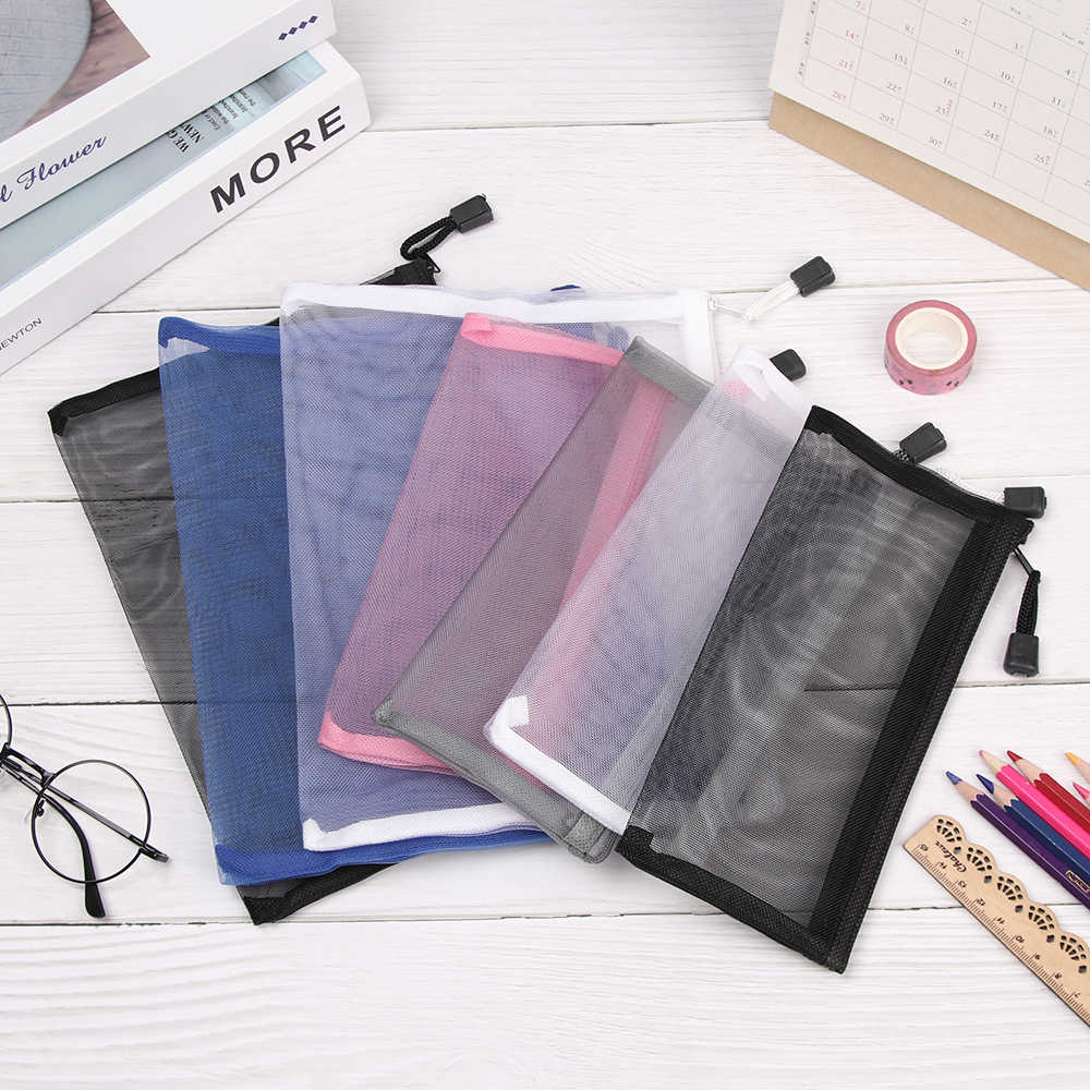 Simple Transparent Mesh Cosmetic Storage Bag Clear Zipper Stationery Bag Nylon Makeup Pouch Portable Travel Toiletries Handbag