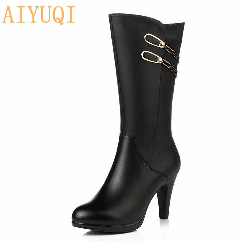 AIYUQI kadın uzun çizmeler yüksek topuk 2020 son hakiki deri kadın moda çizmeler Stiletto sıcak nefes kadın kışlık botlar