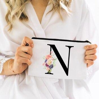 Bridesmaid Makeup Bag Flowers Alphabet Printed Canvas Storage Bag Cosmetic Bags for Bride Bridesmaid Proposal Gift 2