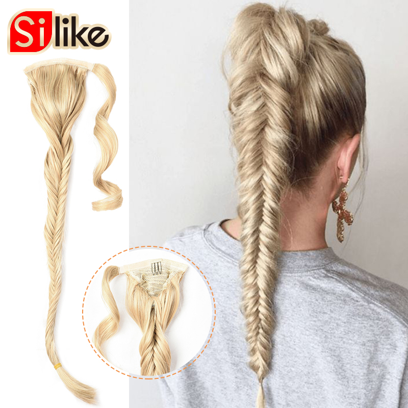 Синтетические косички для хвоста Silike, конский хвост 24 дюйма с заколками для волос, наращивание волос из высокотемпературного волокна