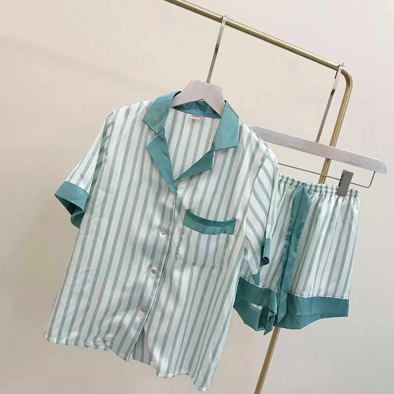 July's Anak Perempuan Pajamas Set 2 Buah Garis Faux Sutra Piyama Anak Lucu Baju Tidur Lengan Pendek Baju Tidur Celana Pendek Wanita