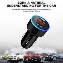 ALLOMN Fast Charge 3.0 USB LCD Digital Car Charger SCP Dual USB Multiple Safety Protection Car Phone Fast Charging High Quality(China)
