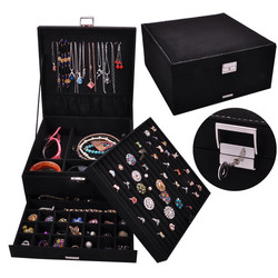 Queen Style 4 Color Luxury Practical Flannel Jewelry Box Fashion Jewelry Display  Earrings Necklace Pendant Nobel Jewelry Casket