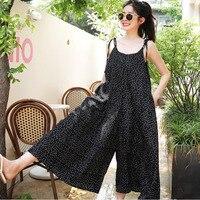 LANMREM Black Dot Sleeveless Sling Piece Wide Leg Pants Loose Plus Woman Nine Pants Casual Simple Fashion 2019 Autumn New TD151