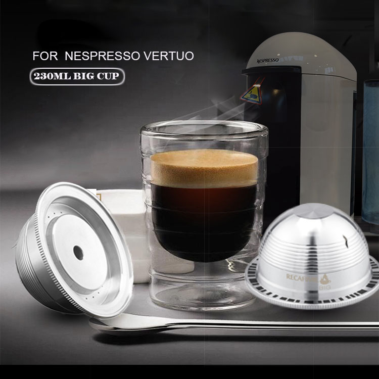 ICafilas Vip Link Stianless Steel Reusable Big CUP(230ML) For Nespresso Vertuo Refillable Coffee Capsule Filter Vertuoline