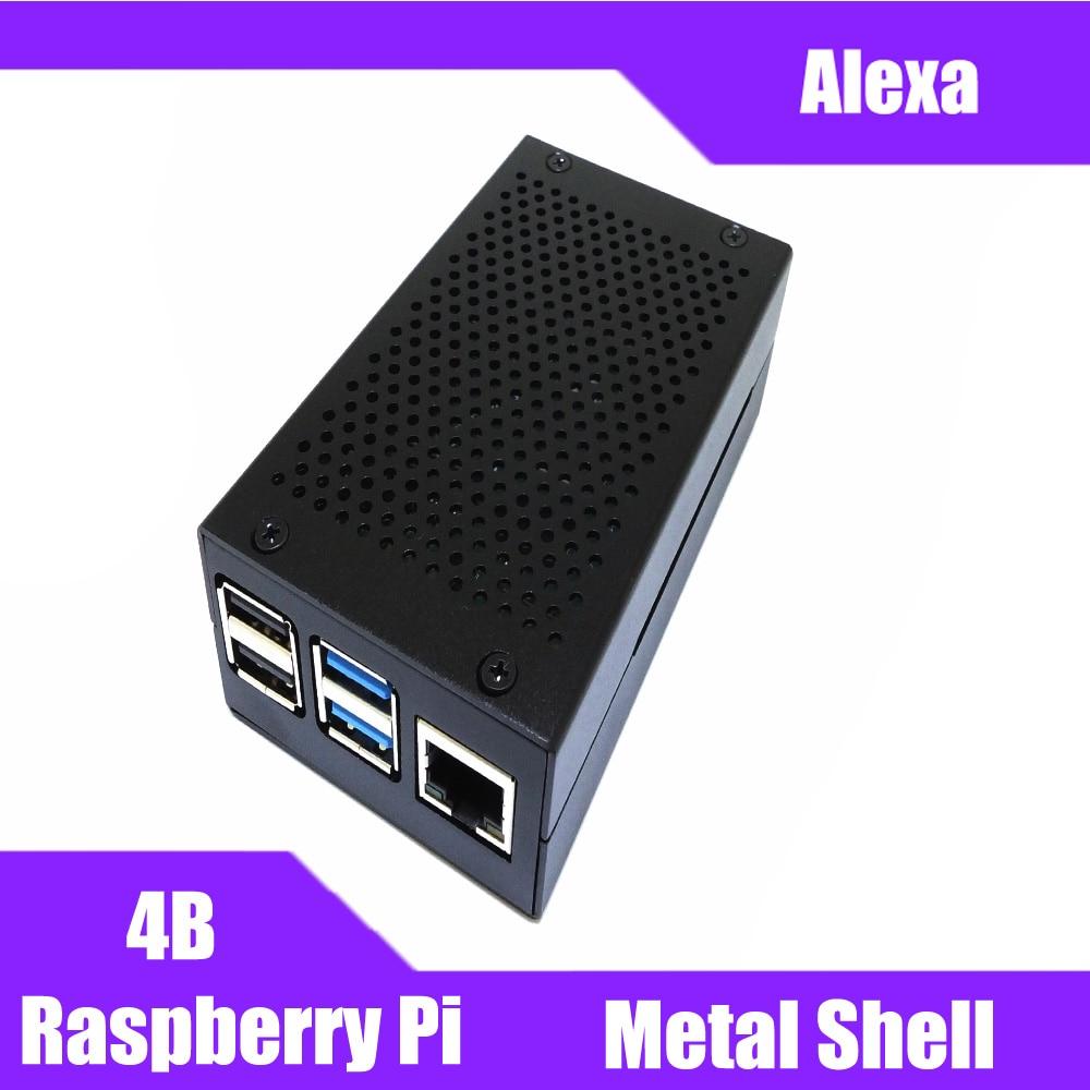Hot Raspberry Pi 4 Aluminum Case Black Shell Silver Box Metal Enclosure For RPI 4 Model B