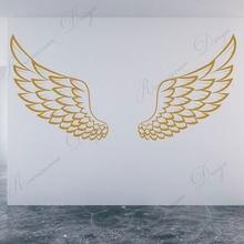 Adesivo de parede de anjo espalhado, vinil, arte em casa, decoração de sala de estar, pássaro, deus, decalques de murais removíveis 4301