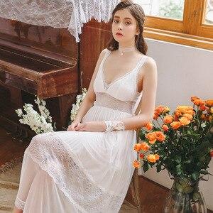 Image 2 - 2020 Hot Couple Bathrobe Female Home Robe Gown Set Bride Pajamas Transparent Kimono Sexy Cotton Nightie Lace Peignoir Sets T480