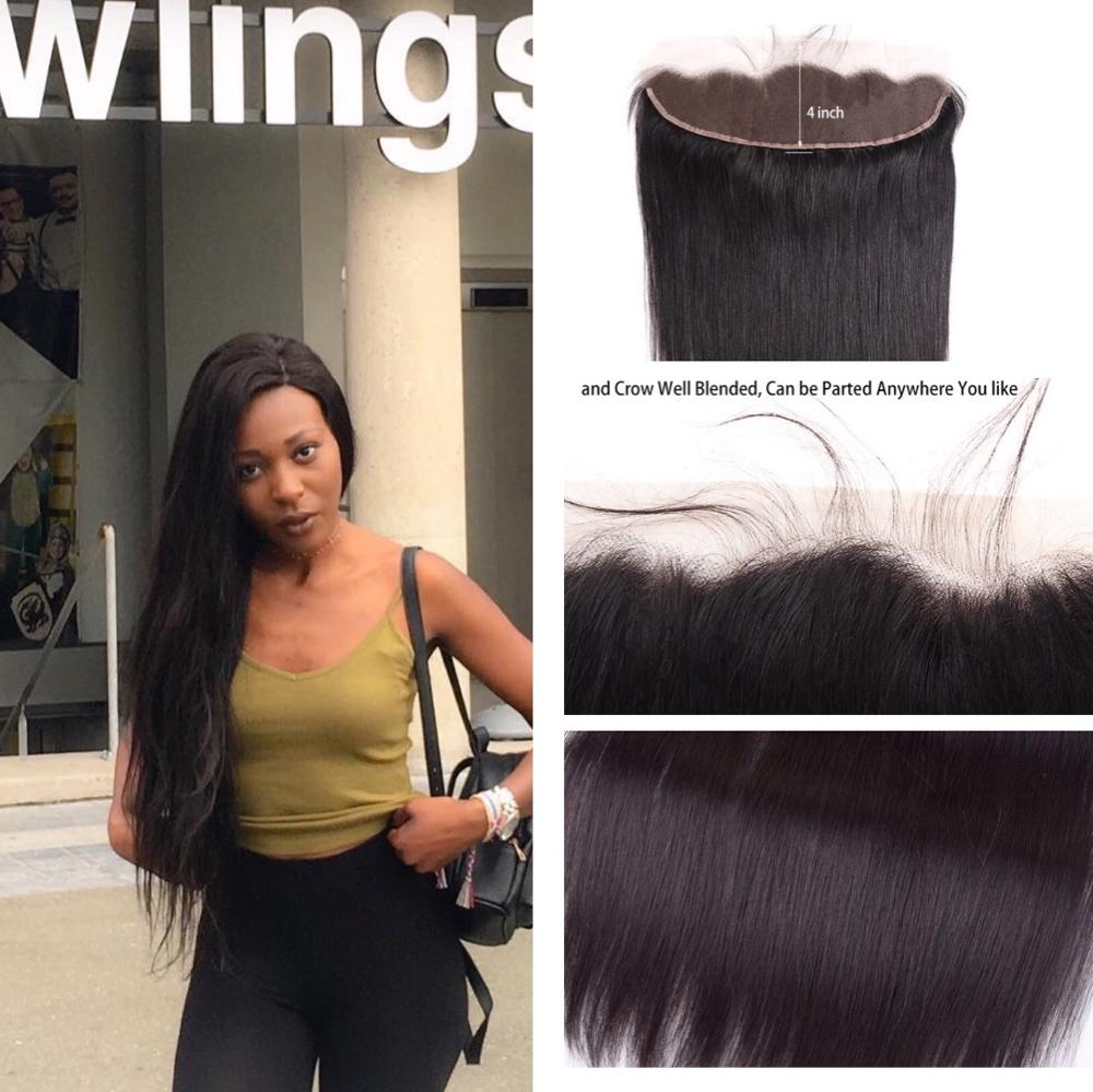 Human Hair Straight/Body Wave/Kinky Curly Frontal 4x13 Lace Frontal Natural Color 8