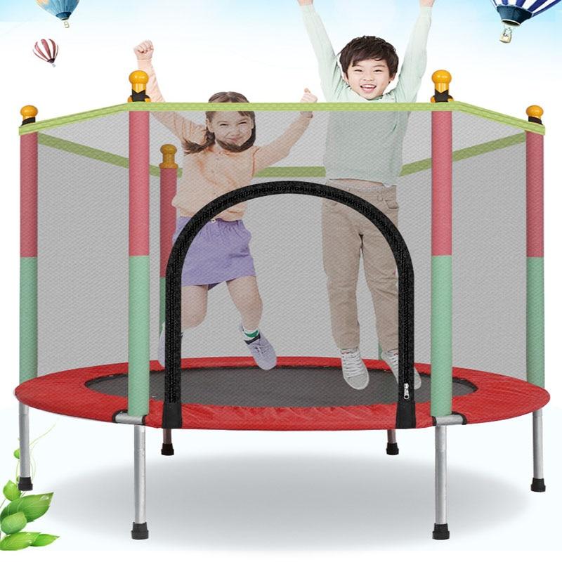 Children Trampoline Round Mute Fitness Safety Mesh Trampoline Kids Bed Furniture Baby's Mobile Park Children Indoor Playground
