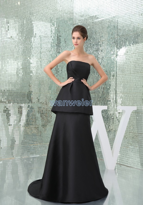 Free Shipping Dresses New Fashion Strapless 2015 Hot Seller Brides Plus Size Balck Formal Evening Gowns Long Evening Dress