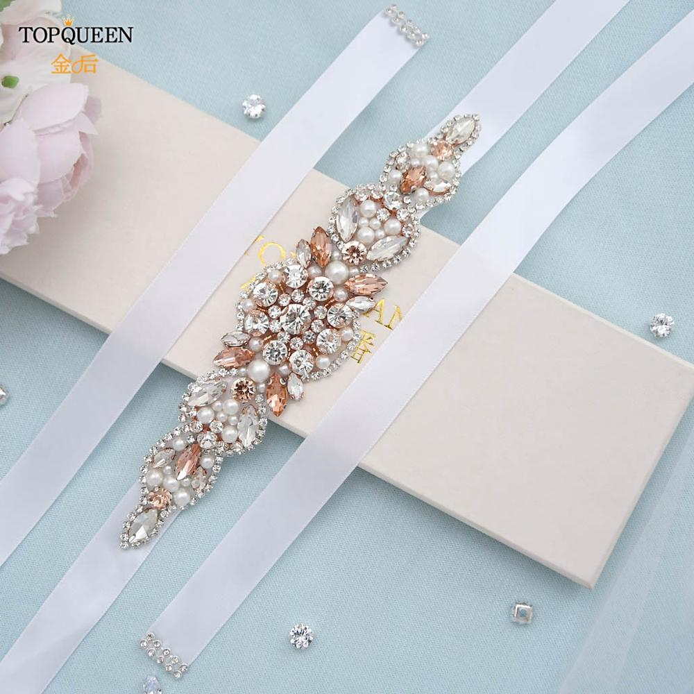 Topqueen S426 Rose Gold Jewel Sash For Bride Diamond Belt Rhinestone Belt For Wedding Dress Prom Dress Belt Luxury Shiny Belt Hot Price 6305 Cicig
