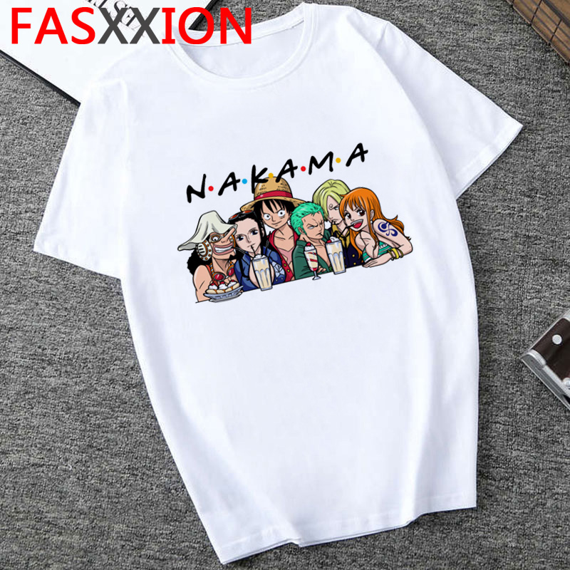 One Piece T Shirt Men  Harajuku Cartoon 2020 Hip Hop Japan Anime Tshirt 90s Funny Luffy Zoro Graphic Fashion  Tees Male