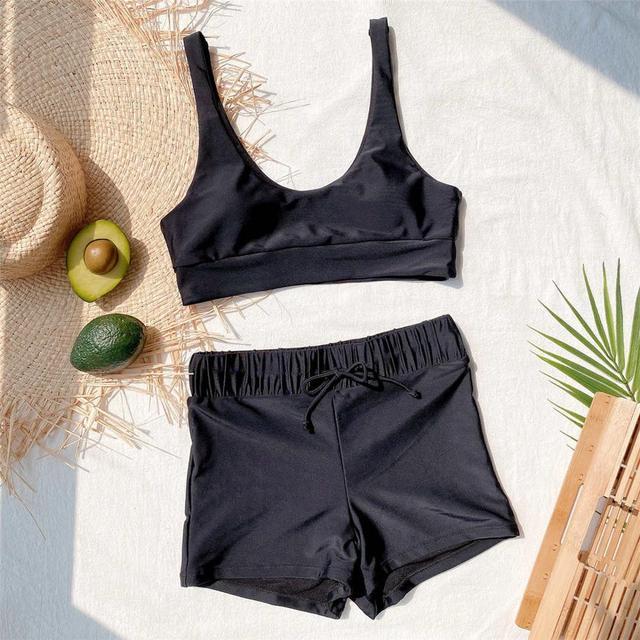 Black High Waist Bikini with Shorts