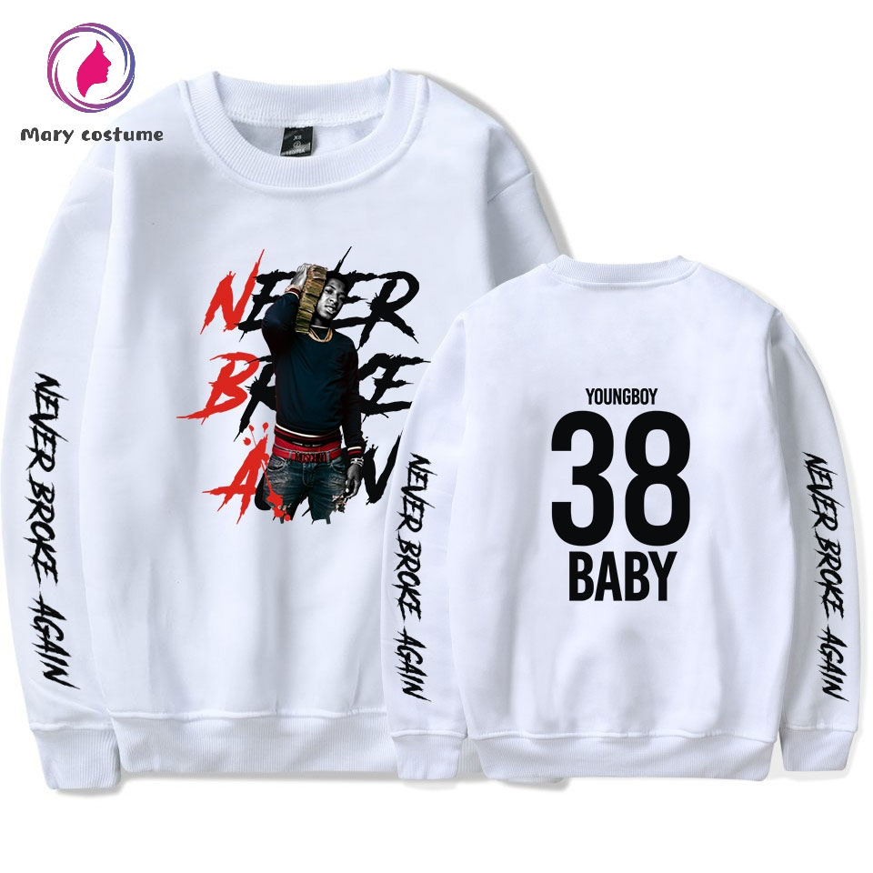 NBA YoungBoy O Neck Sweatshirt Women 2019 New Fashion White Sweatshirt Female Trend Round Neck Harajuku Sweatshirt