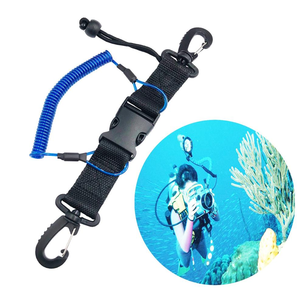 TSMC Scuba diving snappy coil black springs camera Lanyard Spiral With Ring Dive Underwater Housing Flashlight Torch drop ship