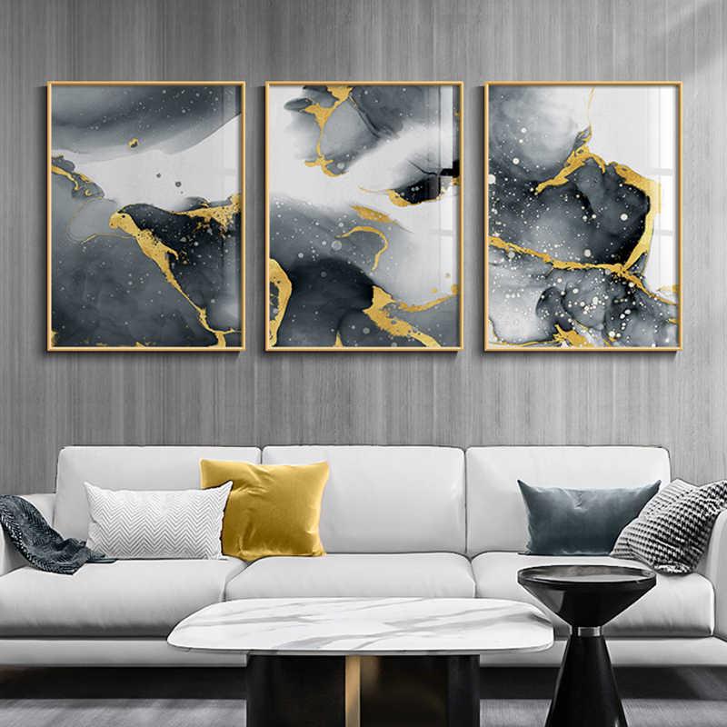 現代抽象キャンバスポスター黄金黒壁アート絵画北欧ポスターやプリント壁の写真リビングルームのホームインテリア