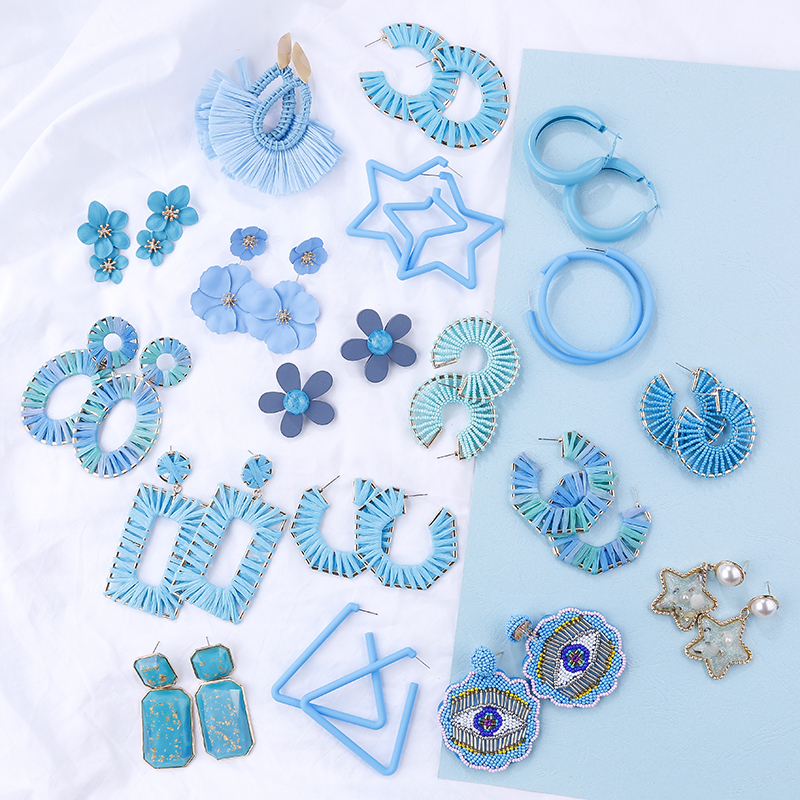 AENSOA Simple 2019 Blue Multiple Earrings For Women Korea Blue Geometric  Drop Earrings Acrylic Resin Metal Fashion Earrings