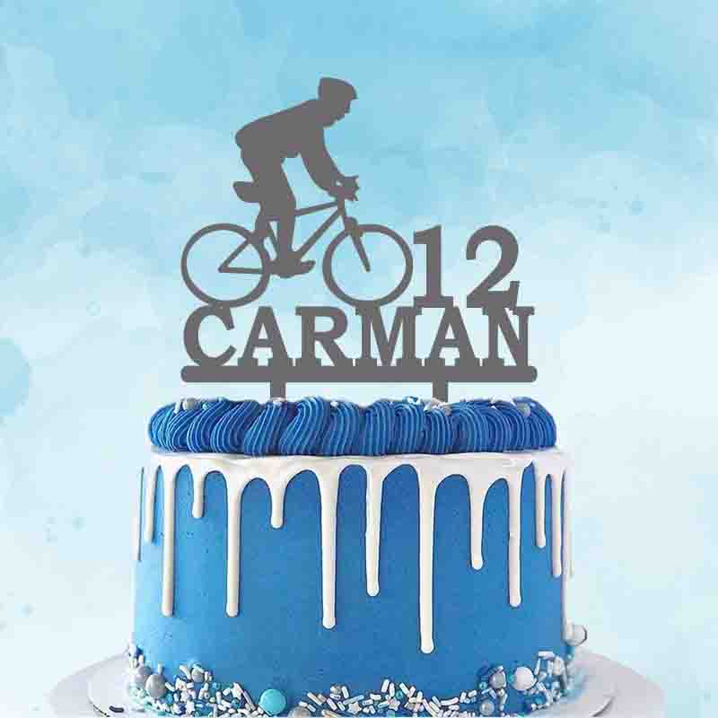 Personalized Cycling Cake Topper Custom Name Age Man Riding Bicycle Silhouette For Cyclist Birthday Party Cake Decoration Topper