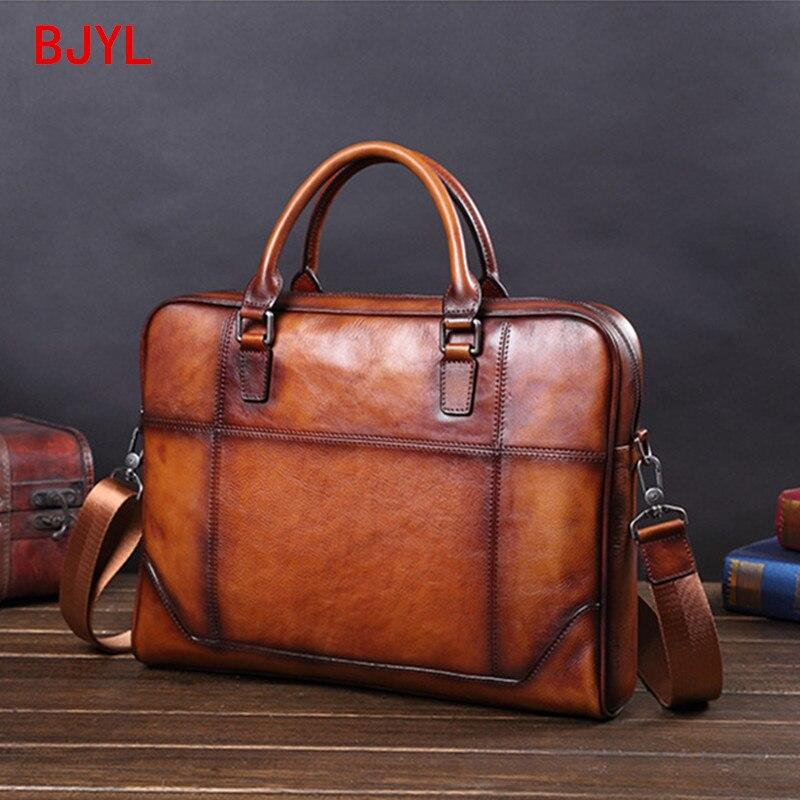 Genuine Leather Men's Handbag Cowhide Leather Bag Business Computer Bag Men Briefcase Cross Section Casual Shoulder Bag Tide